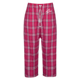 Ladies Dark Fuchsia/White Flannel Pajama Pant-A