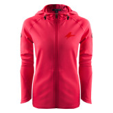 Ladies Tech Fleece Full Zip Hot Pink Hooded Jacket-A Tone