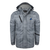 Grey Brushstroke Print Insulated Jacket-A