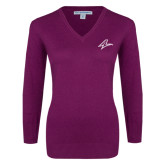 Ladies Deep Berry V Neck Sweater-A