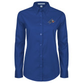 Ladies Royal Twill Button Down Long Sleeve-A w/ Bulldog Head