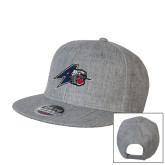 Heather Grey Wool Blend Flat Bill Snapback Hat-A w/ Bulldog Head