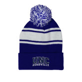 Royal/White Two Tone Knit Pom Beanie with Cuff-Arched UNC Asheville