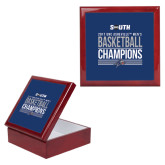 Red Mahogany Accessory Box With 6 x 6 Tile-2017 Mens Basketball Champions Stacked