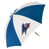 62 Inch Royal/White Umbrella-A w/ Bulldog Head