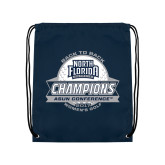 Navy Drawstring Backpack-2017 ASUN Conference Womens Golf Champions Back To Back