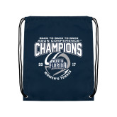 Navy Drawstring Backpack-2017 ASUN Conference Womens Tennis Champions Back To Back