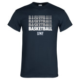 Navy T Shirt-Basketball Stacked & Repeated