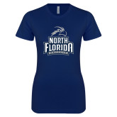 Next Level Ladies SoftStyle Junior Fitted Navy Tee-Official Logo