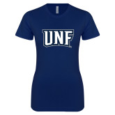 Next Level Ladies SoftStyle Junior Fitted Navy Tee-UNF Monogram