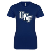 Next Level Ladies SoftStyle Junior Fitted Navy Tee-Diagonal UNF Monogram