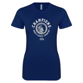 Next Level Ladies SoftStyle Junior Fitted Navy Tee-2018 ASUN Mens Cross Country Champions