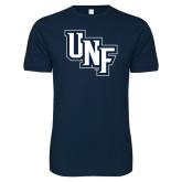 Next Level SoftStyle Navy T Shirt-Diagonal UNF Monogram