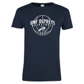 Ladies Navy T Shirt-Basketball Arched w/ Ball