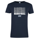 Ladies Navy T Shirt-Basketball Stacked & Repeated