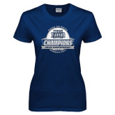 Ladies Navy T Shirt-2017 ASUN Conference Womens Golf Champions Back To Back