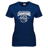 Ladies Navy T Shirt-2017 ASUN Conference Womens Tennis Champions Back To Back