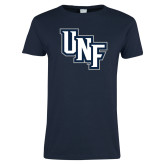 Ladies Navy T Shirt-Diagonal UNF Monogram