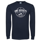 Navy Long Sleeve T Shirt-Basketball Arched w/ Ball