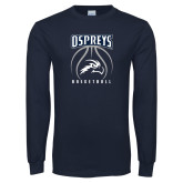Navy Long Sleeve T Shirt-Basketball Stacked