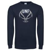 Navy Long Sleeve T Shirt-UNF Basketball