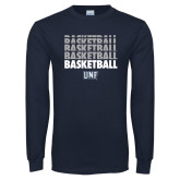 Navy Long Sleeve T Shirt-Basketball Stacked & Repeated