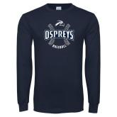 Navy Long Sleeve T Shirt-Baseball Seams