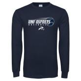 Navy Long Sleeve T Shirt-Baseball w/ Flying Ball