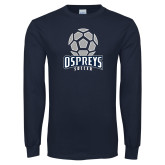Navy Long Sleeve T Shirt-Soccer Stacked Geometric