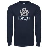 Navy Long Sleeve T Shirt-Soccer Stacked Geometric