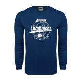 Navy Long Sleeve T Shirt-2016 Atlantic Sun Conference Champions Beach Volleyball