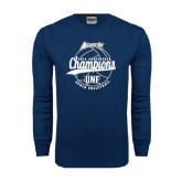 Navy Long Sleeve T Shirt-2016 Atlantic Sun Conference Champions Beach Volleyball