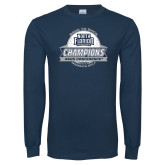 Navy Long Sleeve T Shirt-2017 ASUN Conference Womens Golf Champions Back To Back