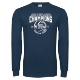 Navy Long Sleeve T Shirt-2017 ASUN Conference Womens Tennis Champions Back To Back