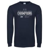 Navy Long Sleeve T Shirt-2018 Mens Golf Champions