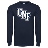 Navy Long Sleeve T Shirt-Diagonal UNF Monogram