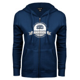 ENZA Ladies Navy Fleece Full Zip Hoodie-2017 ASUN Conference Womens Golf Champions