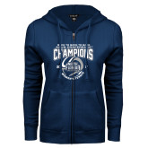 ENZA Ladies Navy Fleece Full Zip Hoodie-2017 ASUN Conference Womens Tennis Champions Back To Back