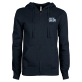 ENZA Ladies Navy Fleece Full Zip Hoodie-North Florida Ospreys