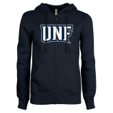 ENZA Ladies Navy Fleece Full Zip Hoodie-UNF Monogram
