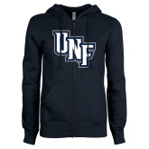 ENZA Ladies Navy Fleece Full Zip Hoodie-Diagonal UNF Monogram