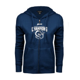 ENZA Ladies Navy Fleece Full Zip Hoodie-2016 Atlantic Sun Conference Champions Mens Tennis