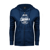 ENZA Ladies Navy Fleece Full Zip Hoodie-2016 Atlantic Sun Conference Champions Beach Volleyball