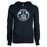 ENZA Ladies Navy Fleece Full Zip Hoodie-25th Anniversary