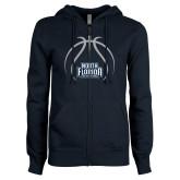 ENZA Ladies Navy Fleece Full Zip Hoodie-Basketball Abstract Ball