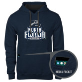 Contemporary Sofspun Navy Heather Hoodie-Official Logo