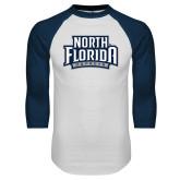 White/Navy Raglan Baseball T-Shirt-North Florida Ospreys