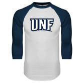 White/Navy Raglan Baseball T-Shirt-UNF Monogram