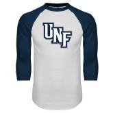 White/Navy Raglan Baseball T-Shirt-Diagonal UNF Monogram