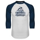 White/Navy Raglan Baseball T-Shirt-Official Logo Distressed